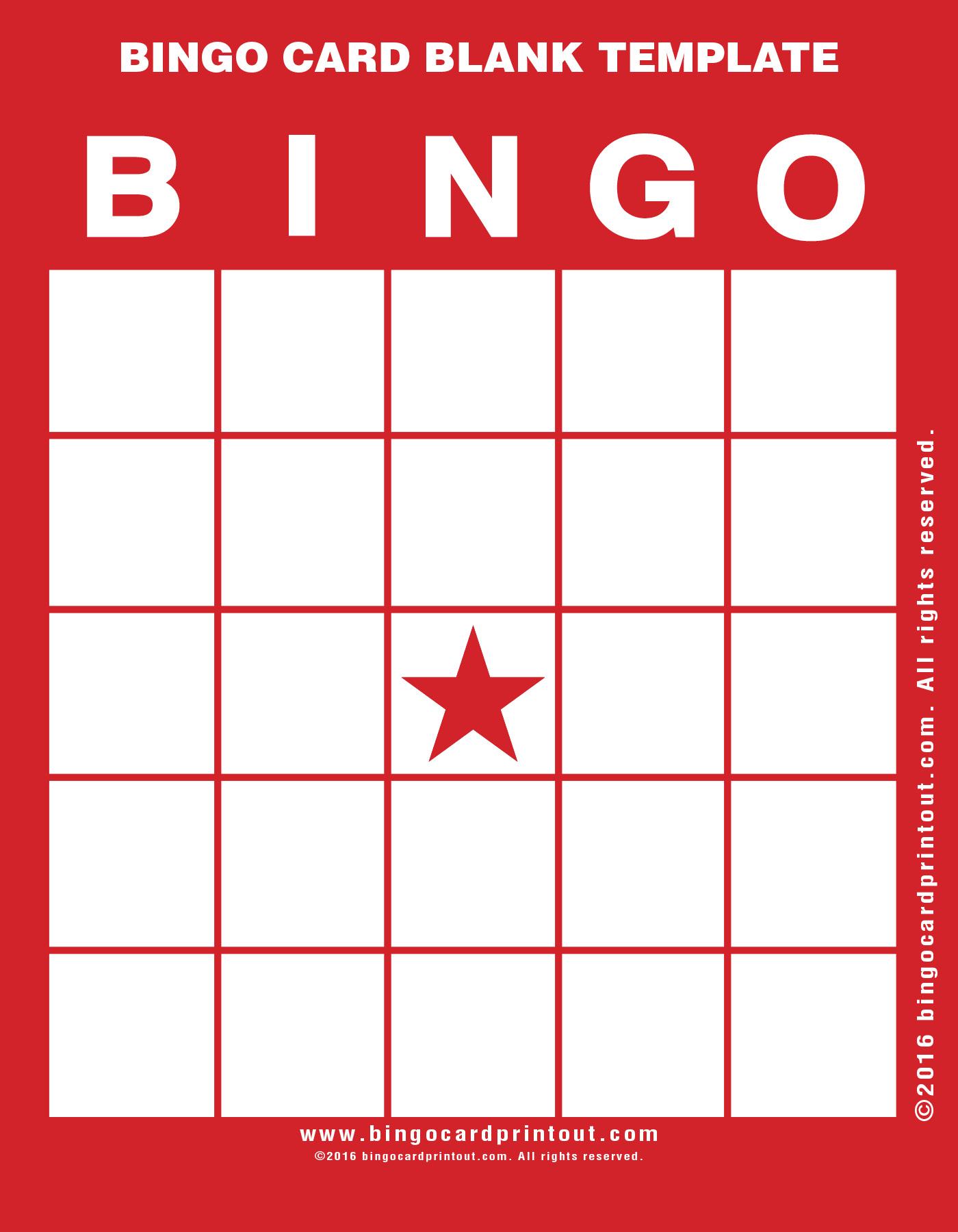 Bingo Card Blank Template Bingocardprintout Com