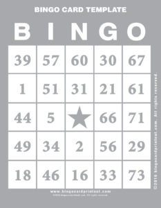 Bingo Card Template 9