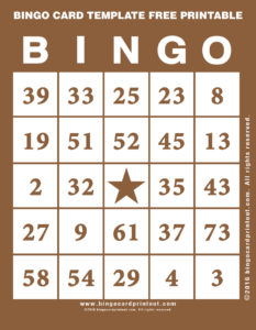 Bingo Card Template Free Printable 10