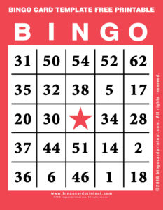Bingo Card Template Free Printable 12