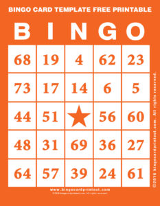 Bingo Card Template Free Printable 2