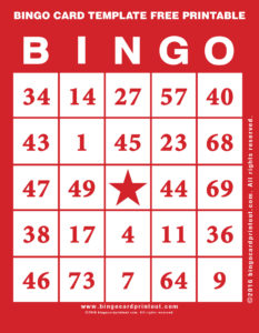 Bingo Card Template Free Printable