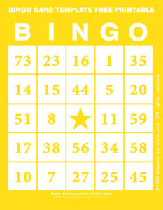 Bingo Card Template Free Printable 3