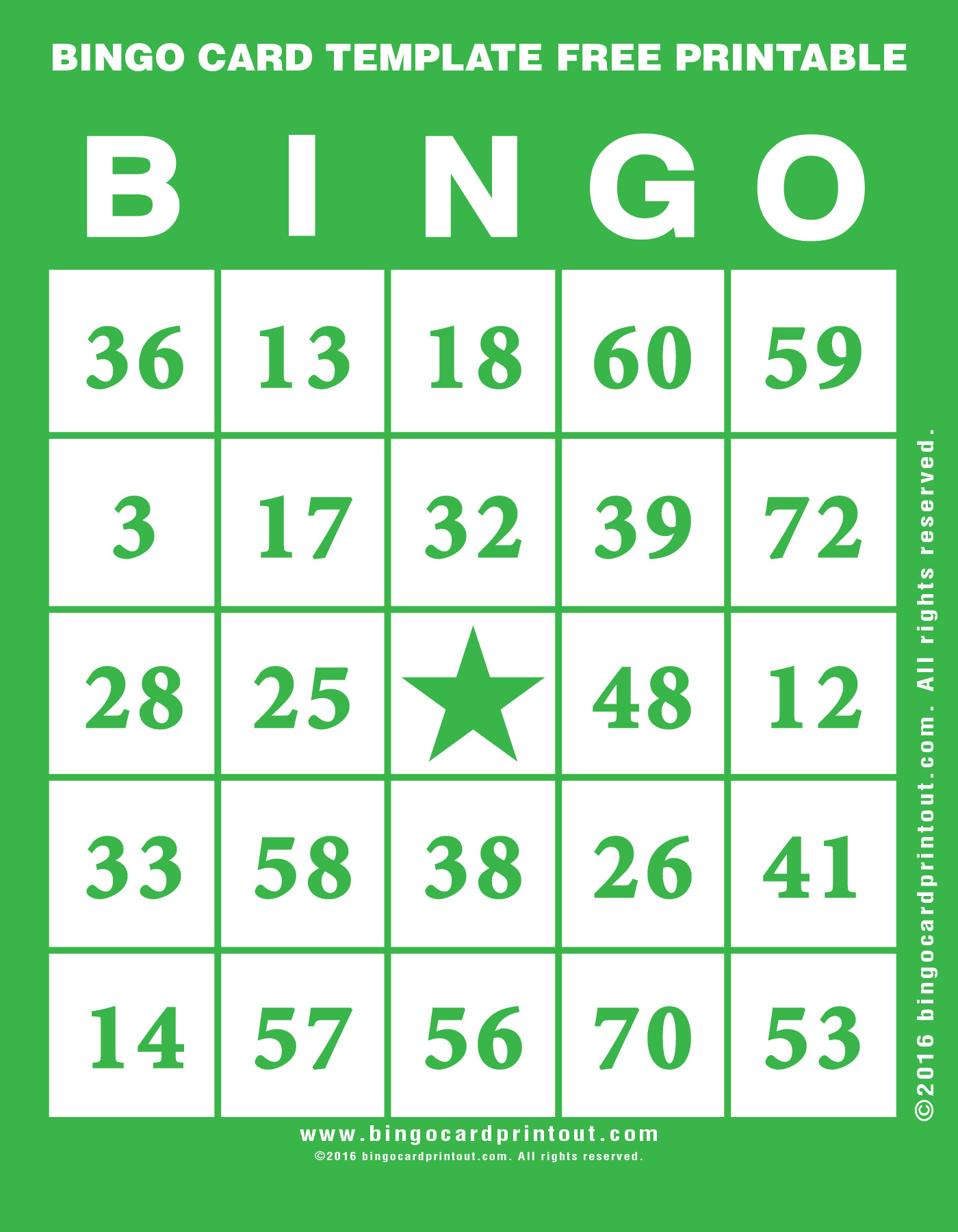 Bingo Card Template Free Printable 4