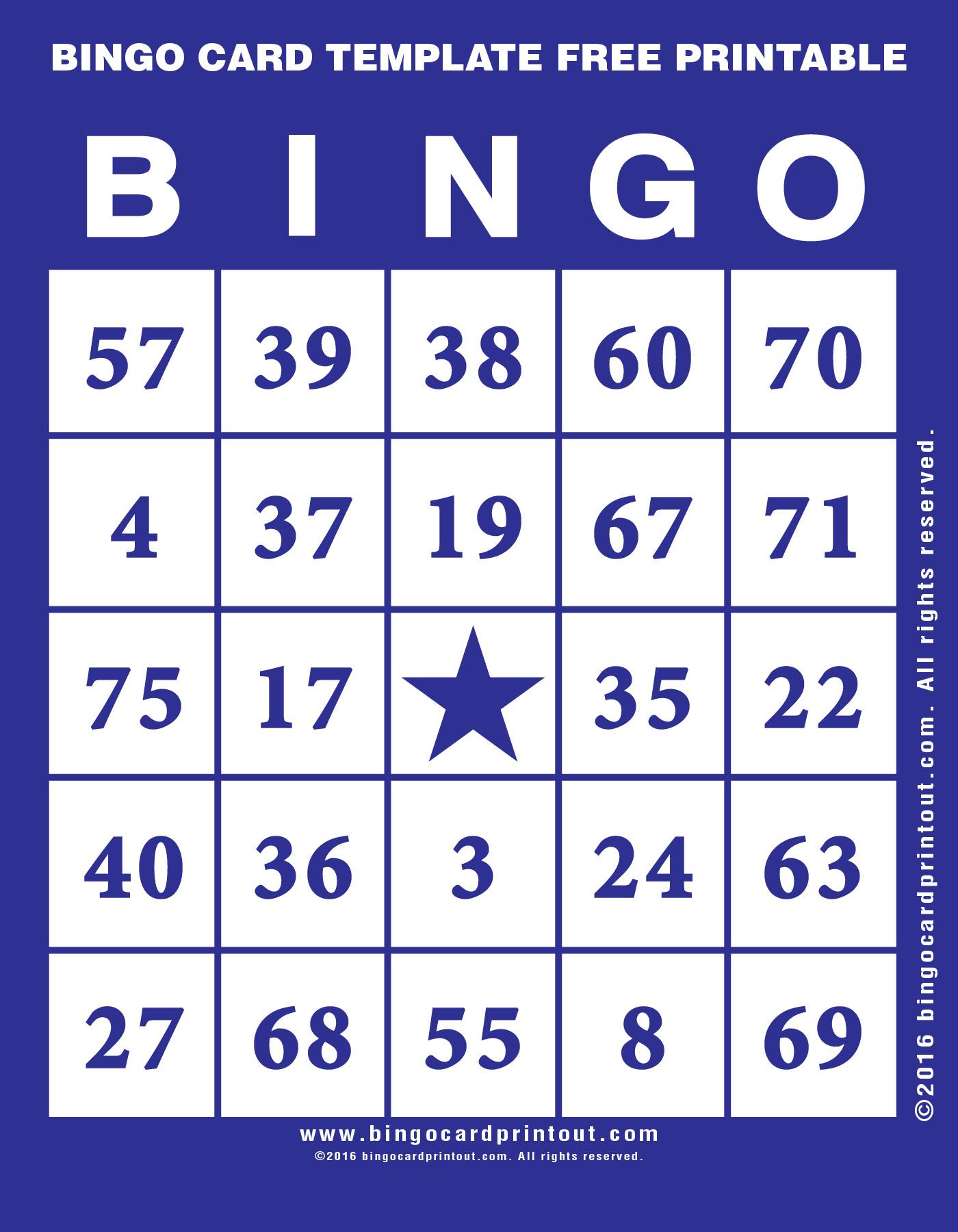 image relating to Free Printable Bingo Cards 1 75 named Bingo Card Template Totally free Printable -