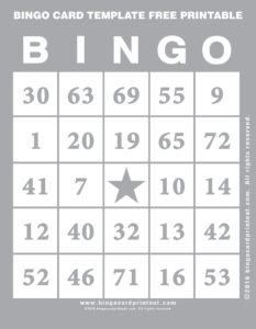 Bingo Card Template Free Printable 9