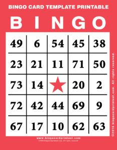 Bingo Card Template Printable 12