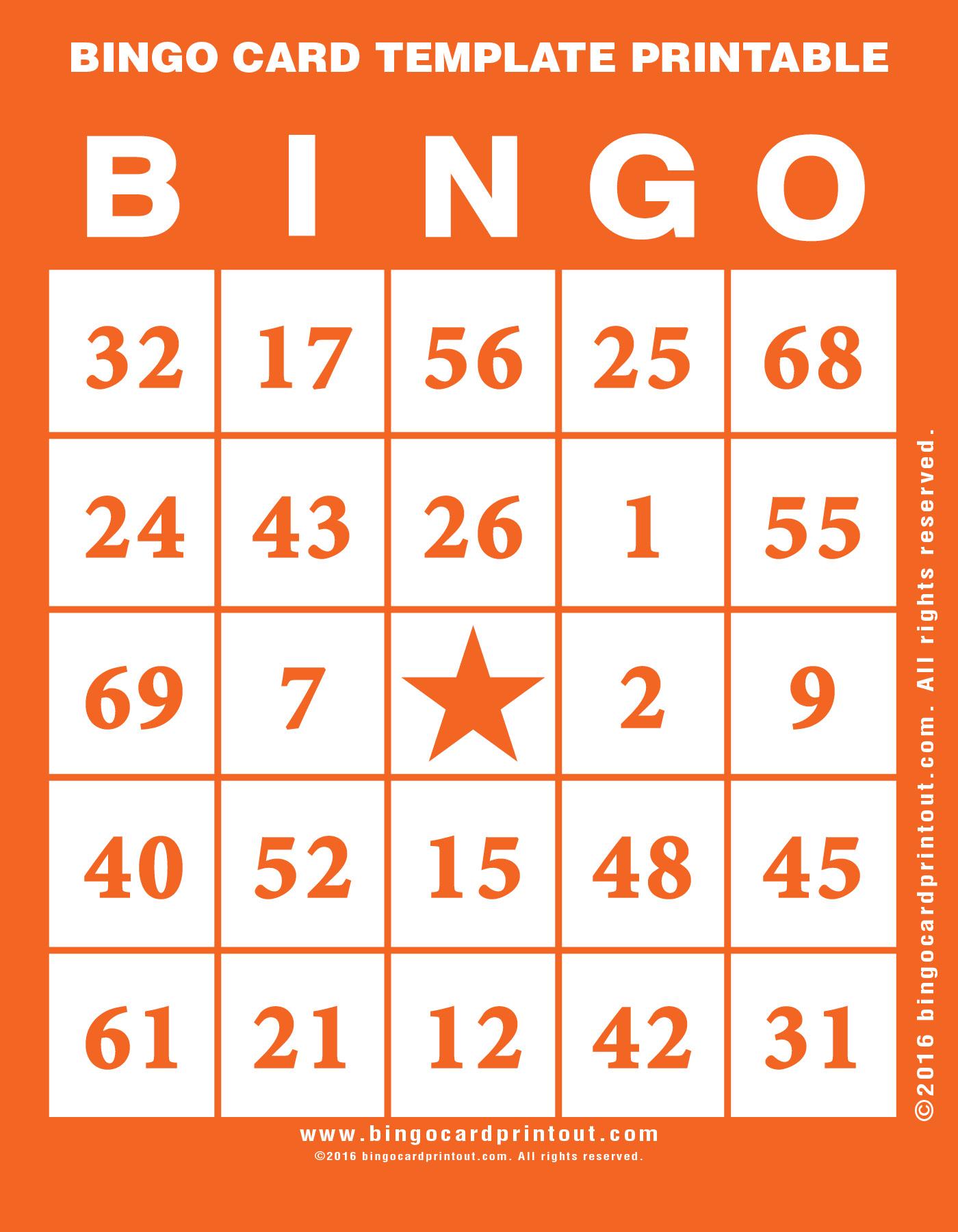Bingo Card Template Printable - BingoCardPrintout.com