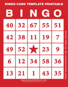 Bingo Card Template Printable