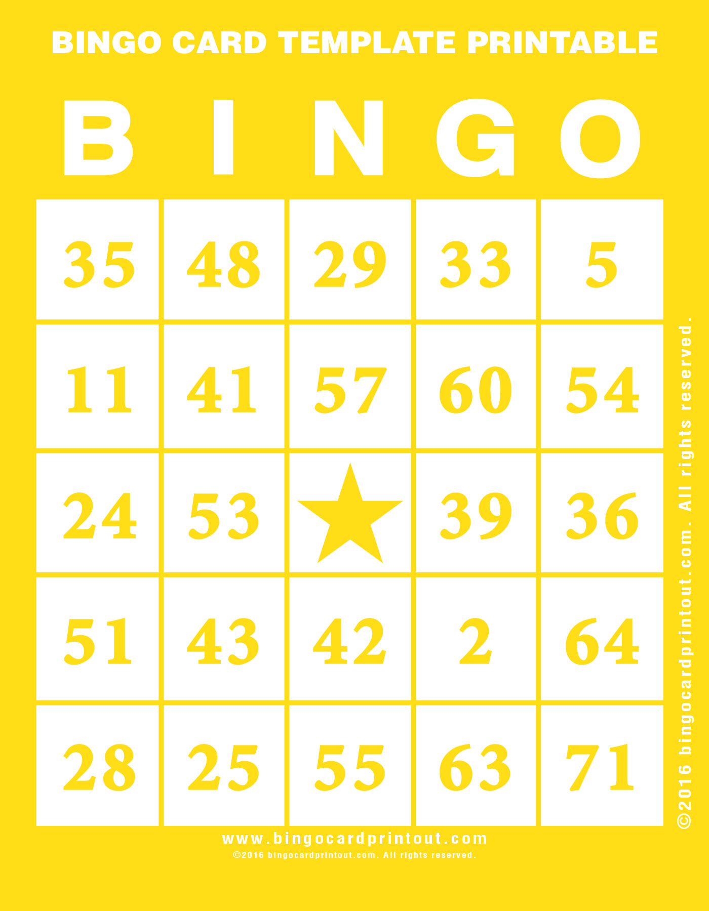 Bingo Card Template Printable - BingoCardPrintout.com