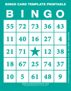 Bingo Card Template Printable 5