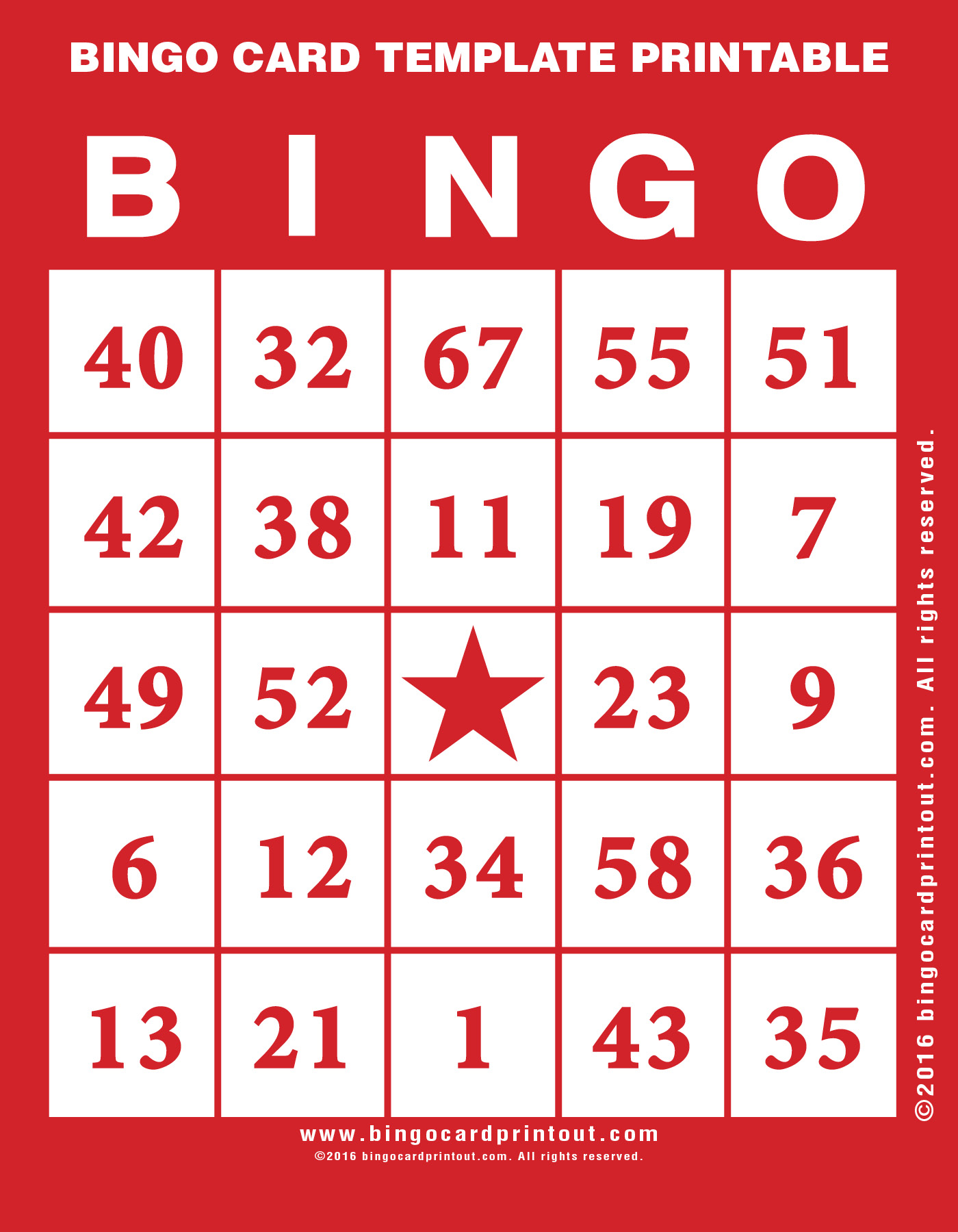bingo card template printable. Black Bedroom Furniture Sets. Home Design Ideas
