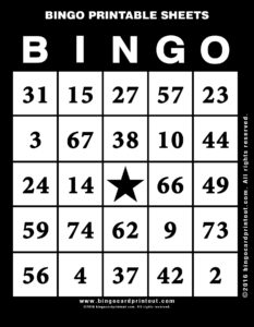 Bingo Printable Sheets 11
