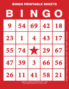 Bingo Printable Sheets
