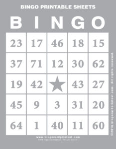 Bingo Printable Sheets 9
