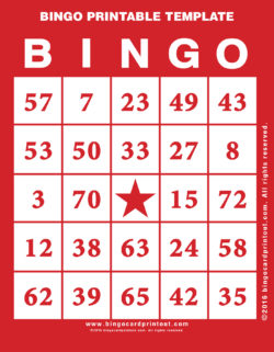Bingo Printable Template