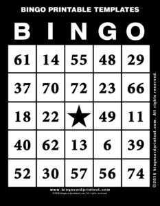 Bingo Printable Templates 11