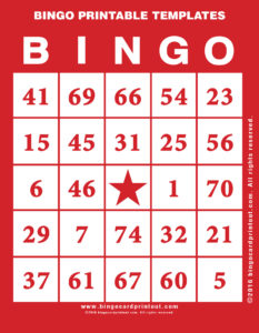 Bingo Printable Templates