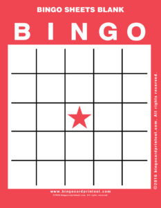 Bingo Sheets Blank 12