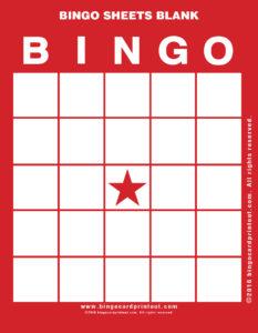 Bingo Sheets Blank