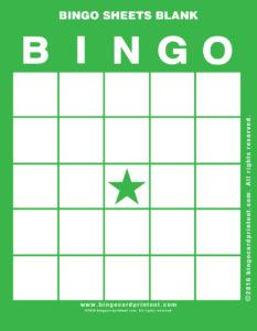Bingo Sheets Blank 4
