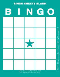 Bingo Sheets Blank 5