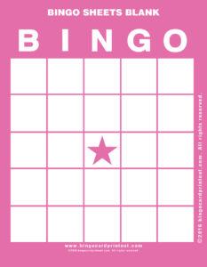 Bingo Sheets Blank 8