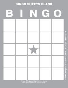 Bingo Sheets Blank 9