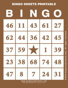 Bingo Sheets Printable 10