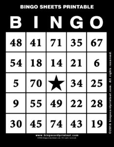 Bingo Sheets Printable 11