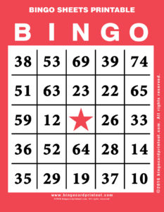 Bingo Sheets Printable 12