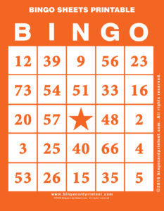 Bingo Sheets Printable 2
