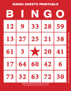 Bingo Sheets Printable