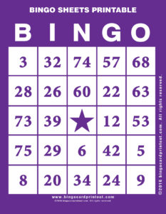 Bingo Sheets Printable 7