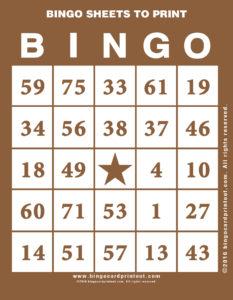 Bingo Sheets to Print 10