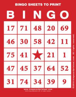 Bingo Sheets to Print