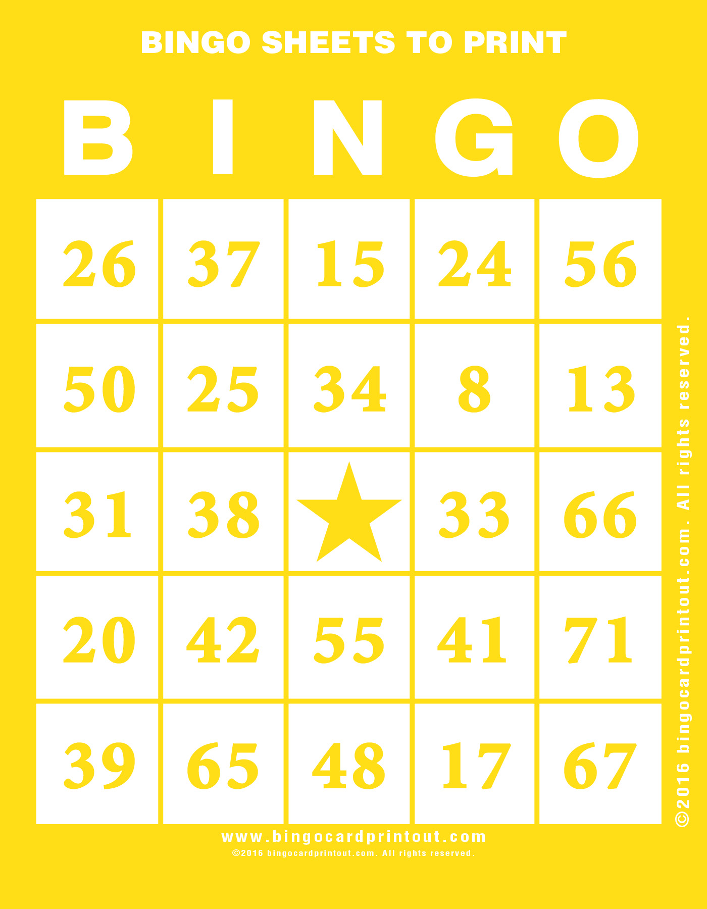 bingo sheet template