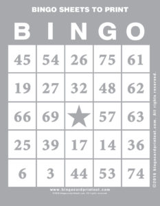 Bingo Sheets to Print 9