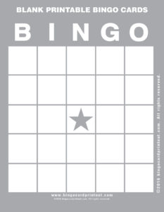 Blank Printable Bingo Cards 9