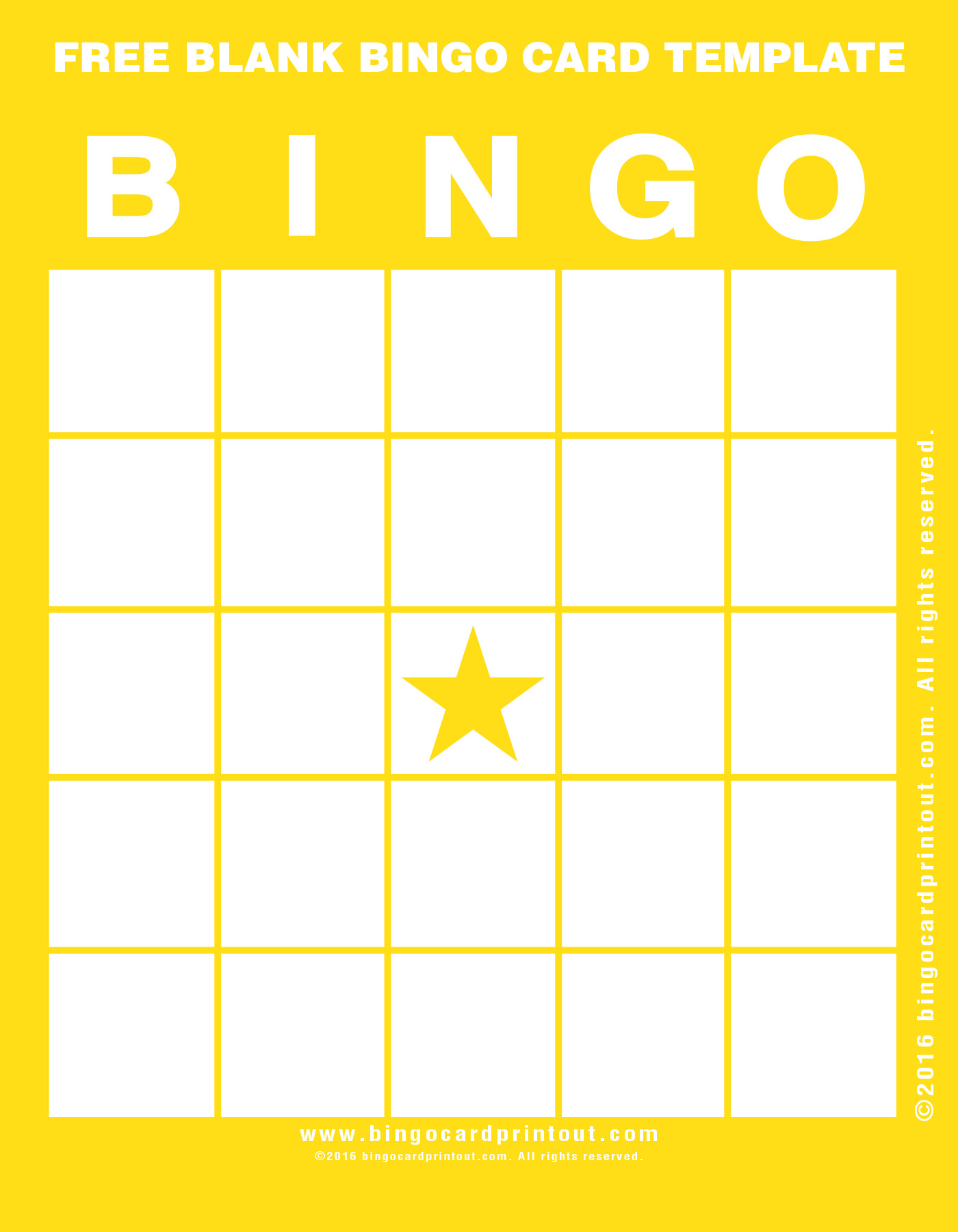 Free blank bingo card template for Blank scorecard template