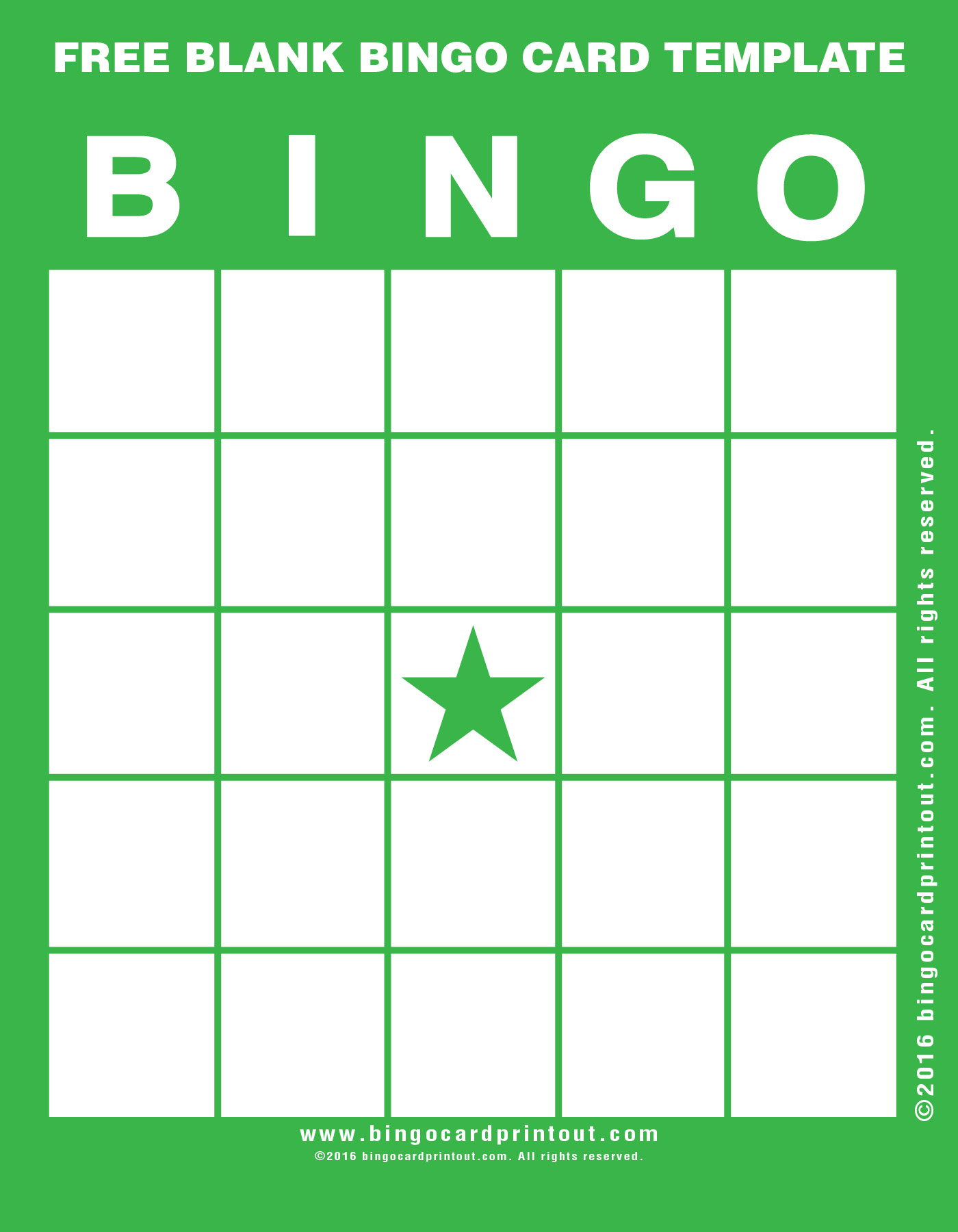 Free blank bingo card template for Free complimentary cards templates