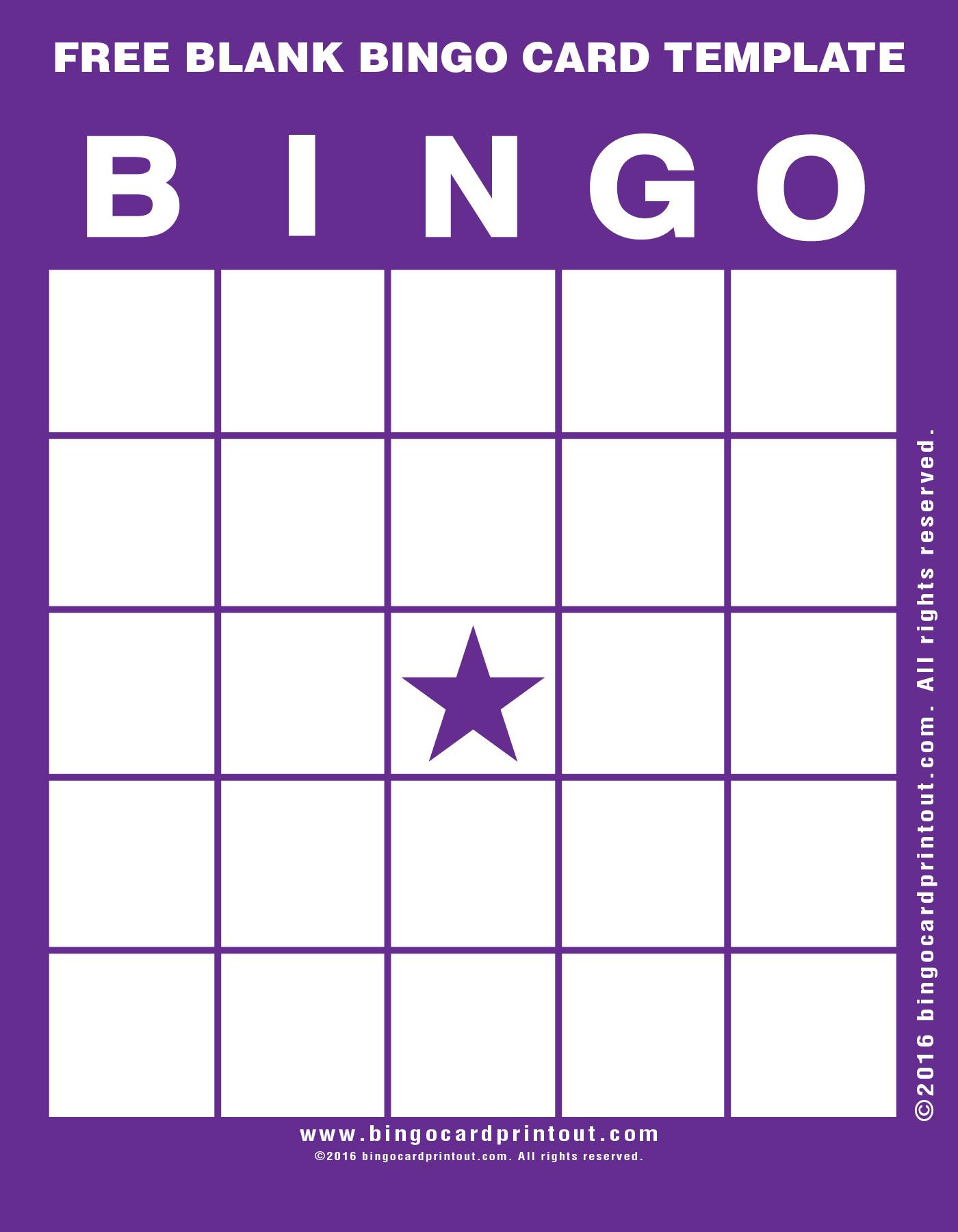 blank bingo templates