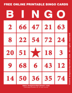 Free Online Printable Bingo Cards