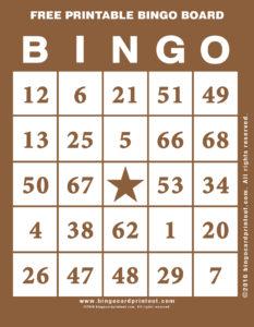Free Printable Bingo Board 10