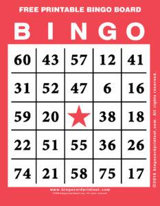 Free Printable Bingo Board 12