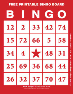 Free Printable Bingo Board