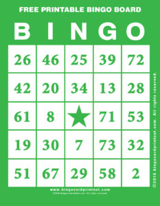 Free Printable Bingo Board 4