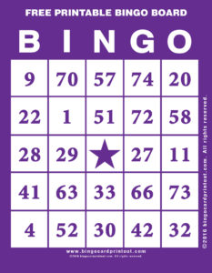 Free Printable Bingo Board 7
