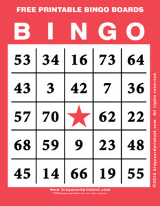 Free Printable Bingo Boards 12