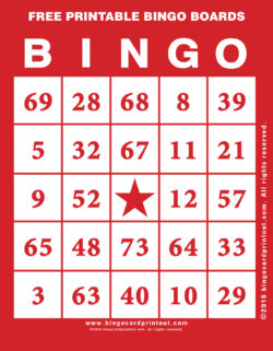 Free Printable Bingo Boards